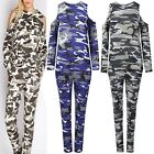 Womens Ladies Army Camofluge Cold Shoulder Cut Top Bottoms Lounge Tracksuit Set