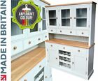 Bordeaux Painted, Oak 5ft Glazed Welsh Dresser, Buffet Display Hutch, Wine Rack