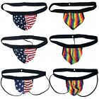 G3004 HOT MEN STRAPLESS JOCK Bare Back Stars and Stripes Patriotic Rainbow
