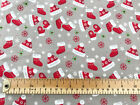 100% Cotton Fabric - Red & Grey Christmas Stocking Print Fabric Material Metre