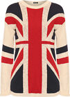 New Womens Union Jack British UK Flag Ladies Long Sleeve Knitted Jumper Top 8-14