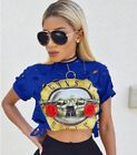 Hot S Size Blue Women Cotton GUNS Roses Print Hole Crop Top Shorts Sleeve T-Shir