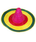 Adults Multicolor Mexican Straw Hat Unisex Fancy Beach Hawaiian Party Accessory