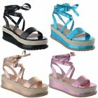 Womens Ladies Platform Espadrille Flat Wedge Sandals Lace Up Ankle Shoes Size