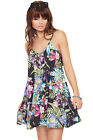 Womens Floral Strappy Swing Dress Top Ladies Print Sleeveless Flared 8-14