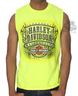 Harley-Davidson Mens Legendary B&S Flames Safety Green Sleeveless Muscle T-Shirt $12.99 USD on eBay