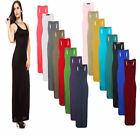 Women's Long Maxi Dress Ladies Stretch Body-con Sleeveless Plain Racer Back Vest
