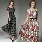 Womens Lace Floral Short Sleeve Beach Summer Party Long Maxi Dress Full Length