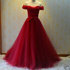 Classic Off the Shoulder Red Long Evening Wedding Dreses Bridal Gown Custom Size