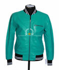 70's Turquoise Men's Classic Bomber Casual Real Lambskin Leather Fashion Jacket