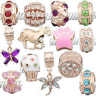 Rose Gold Plated Charm Beads fit Womens Girls European Style Charm Bracelets