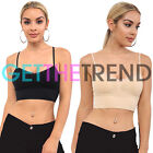 Women Trim Lace Bra Padded Wire Free Ladies Cotton Cami Vest Womens Strap