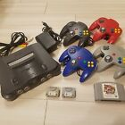 Nintendo 64 Black Console + 4 Controller + 1 Game Working From JAPAN F/S