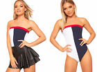 Womens Colour Block Panel Bandeau Bardot Sleeveless Bodysuit Ladies Leotard Top