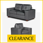 STRADA 2 + 1 Grey Leather Sofas 2 Seater with 1 Armchair CLEARANCE