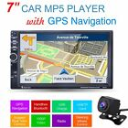 "7"" Car 2 DIN MP5 Bluetooth Player GPS Navigation FM AUX-IN W/ Backup Cam US Maps"