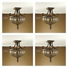 4 VINTAGE FRENCH HAND BLOWN GLASS BRONZE IRON RUSTIC CEILING LIGHT LIGHTING