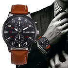 Retro Men's Leather Military Casual Analog Quartz Wrist Watch Business Watches image