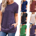 Womens Tunic Tops Short Sleeve Round Neck Loose Tops Blouse T-Shirt with Pockets