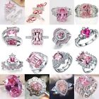 Charm Jewelry Women 925 Silver Pink Sapphire Gemstone Wedding Bridal Ring Sz6-10 image