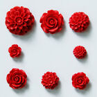 10~34mm Gorgeous Flower Carved Cinnabar Beads Crafts Jewelry Making