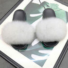 Women Real Fur Flat Shoes Fluffy Flip Flop Slippers Sliders Sandals Xmas Gift UK