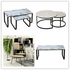 Side Tables Set of 2 Tempered Glass Top Nest of Table Mini Coffee Nesting Table