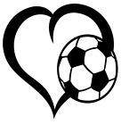 Soccer Ball Heart Vinyl Decal Sticker Home Wall Cup Car Decor Choose Size Color