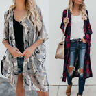 Women Loose Kimono Cardigan Boho Beach Chiffon Tops Bikini Long Coat Blouse 005