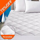 Reversible Mattress Pad Cooling Topper Quilted Fitted Deep Pocket Cover Soft New