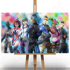 Fortnite Battle Royale Game Canvas Art Print Picture Paint Splash Splatter A1