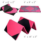 6'/8'/10' Gymnastics Mat Folding Panel Thick Gym Fitness Exercise Pink/Black New image