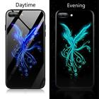 Luminous Glass Case Cover For iPhone  7 8 6 6s Plus X Tiger Wolf Dragon Black