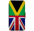 Union Jack & Jamacia Flag Leather Flip Phone Case Cover Wallet D13