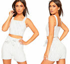 Womens Pinstriped Stretch Crop Top High Waist Hot Pants Coord Set Ladies Shorts