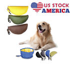 USA Fabric Folding Dog Cat Bowl Food Water Foldable Portable Travel Pet Drinking