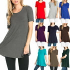 USA Women Short Sleeve Long Tunic Blouse Dress Top Flare Loose Shirt CLEARANCE