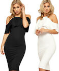 Womens Tiered Party Dress Ladies Cut Out Cold Shoulder Strappy Knee Length