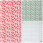 Trailing holly red, silver or green polycotton fabric  per metre 112cm wide