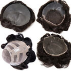 Topper Toupee Men Human Hair Hairpiece Replacement System French Swiss Mono