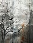 Rustic Modern Home Decor, Bird On Tree Branch Moon Wall Art Matted Picture