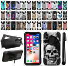 "For Apple iPhone X / XS 5.8"" Hybrid Dual Layer Stand Protective Case Cover + Pen"