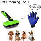 Pet Grooming Glove Self Cleaning Brush Combo Set For Dogs Cats Fur Hair Removal