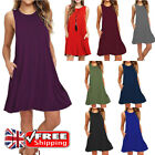 UK Women's Sleeveless T-shirt Swing Dress Vest Long Tops Casual Mini Dress 6-18