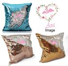 Personalised Flamingo Sequin Cushion Magic Reveal Mermaid Champagne Gold Silver