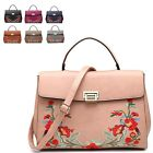 Ladies Faux Leather Floral Satchel Bag Embroidered Handbag Shoulder Bag M7538