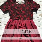 LuLaRoe Amelia Dress Red Black Floral Pleated Stretch Fitted Bodice L colorblock