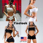 Womens Gym Outfit Sports Crop Top Leggings Fitness Workout Athletic Apparel Sets