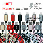 4 PACK 10FT USB-C To USB-A Fast Charging Cable Type C Rapid Charge Power Cord 4x