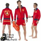 Mens Baywatch Lifeguard Costume Adults 80s 90s TV Fancy Dress Stag Party Outfit